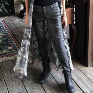 Lady Zara Medium Rise Slim Fit Faux Leather Jeans